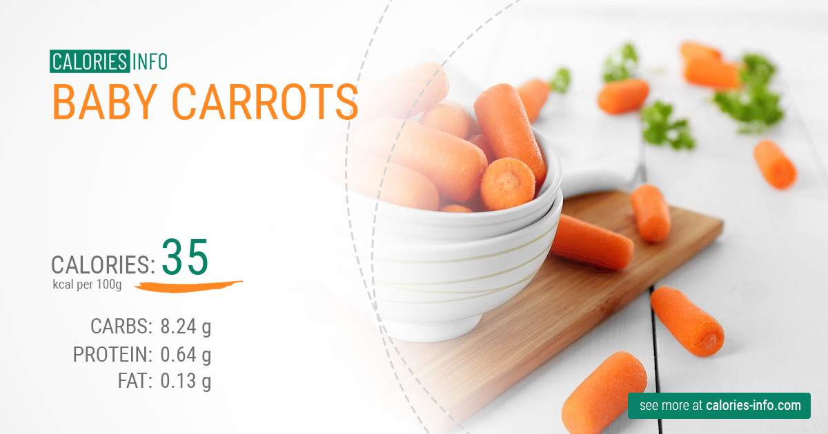 Baby carrots - caloies, wieght