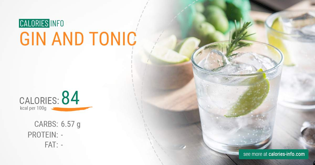 Gin and tonic - caloies, wieght