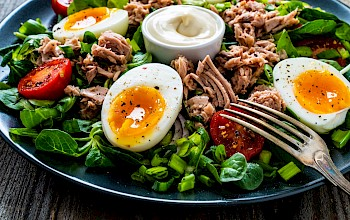 Tuna salad with mayonnaise - calories, nutrition, weight