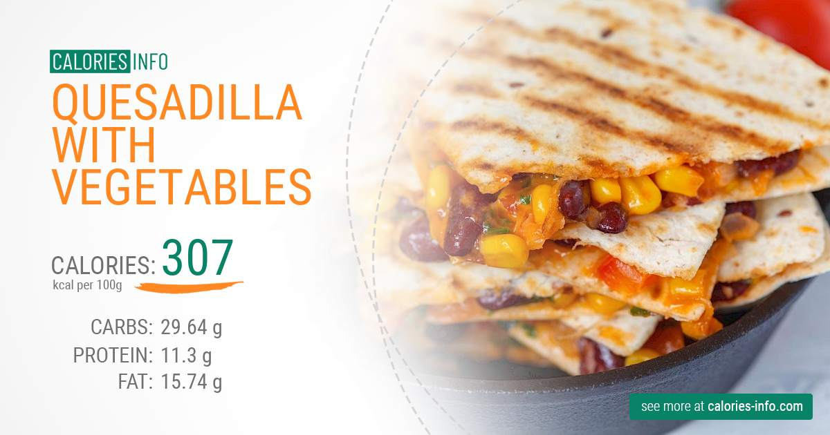 Quesadilla with vegetables - caloies, wieght