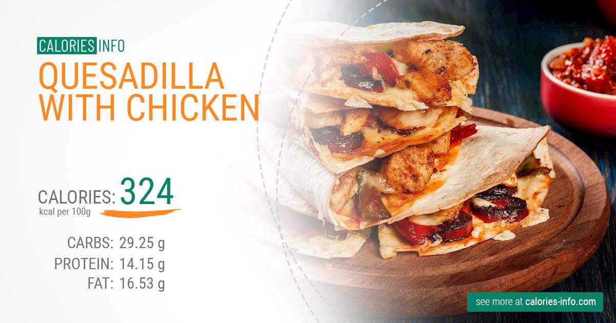 Quesadilla with chicken - caloies, wieght