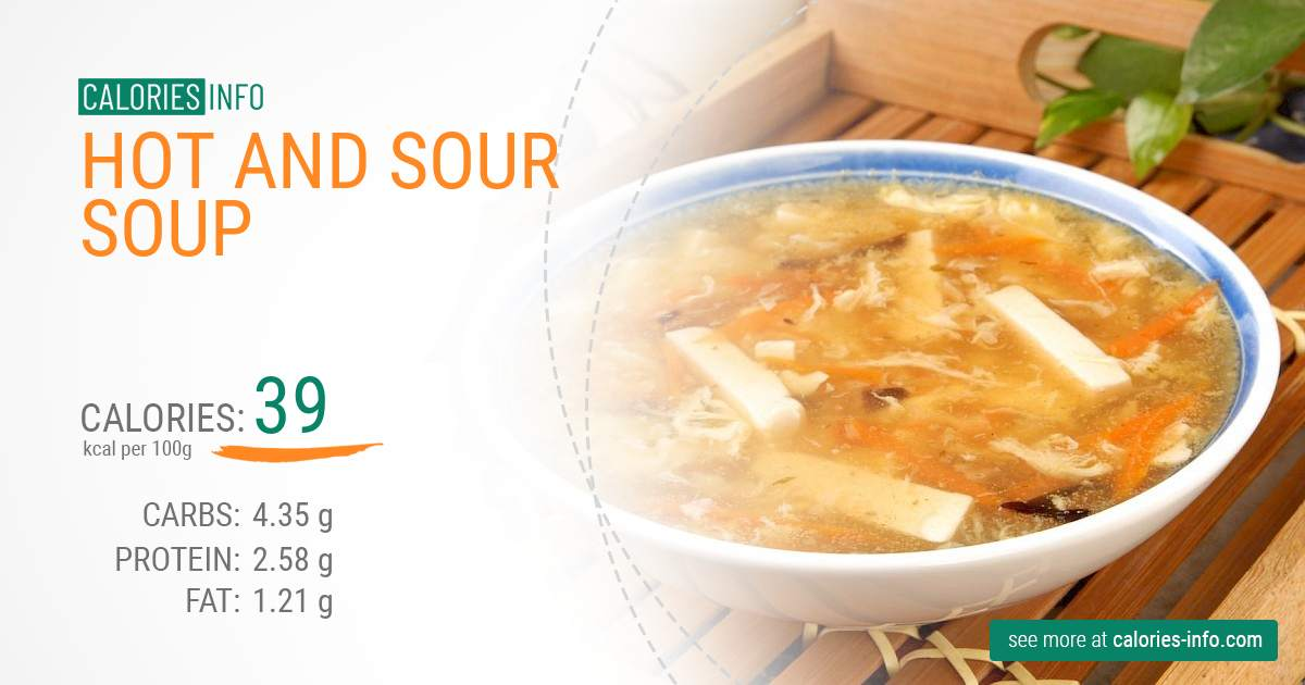 Hot and sour soup - caloies, wieght