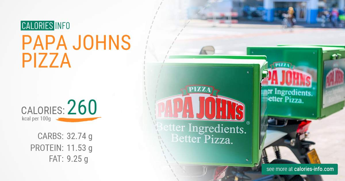 Papa Johns Pizza - caloies, wieght