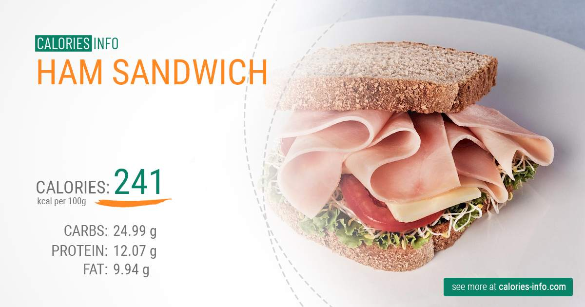 Ham sandwich - caloies, wieght