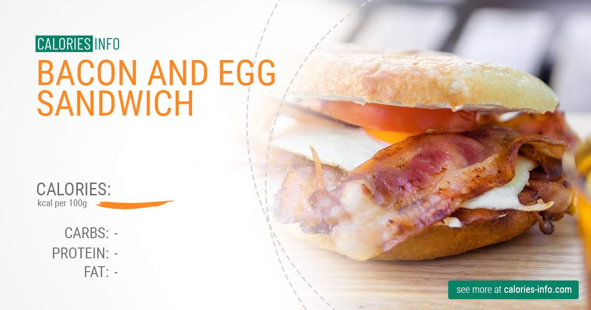 Bacon and egg sandwich - caloies, wieght