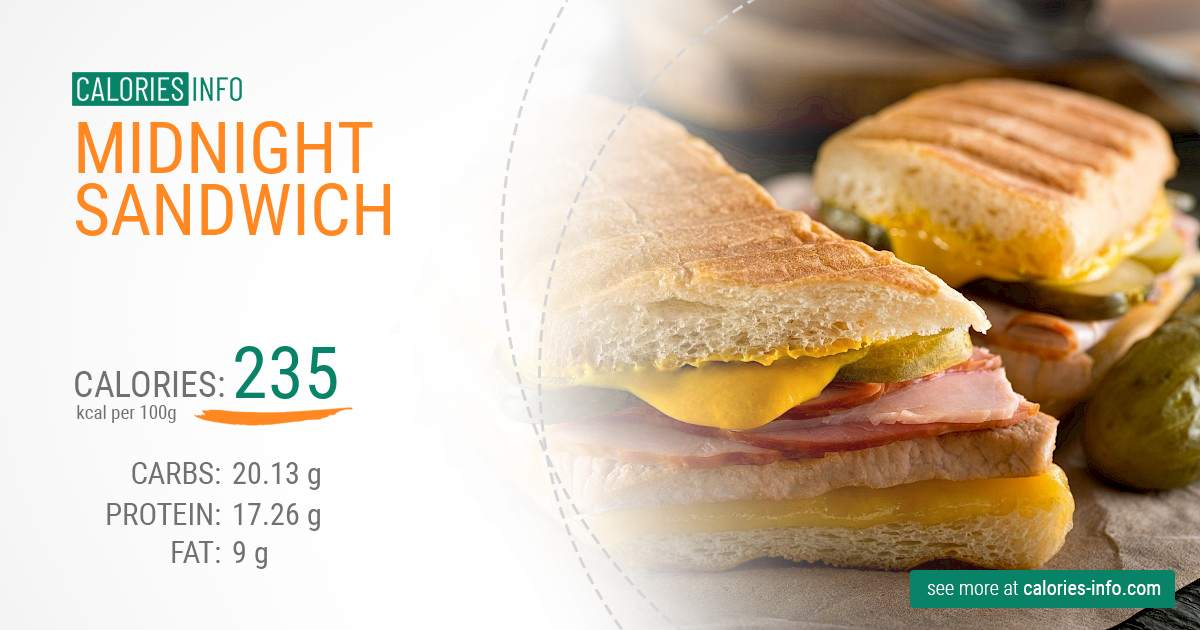 Midnight sandwich - caloies, wieght