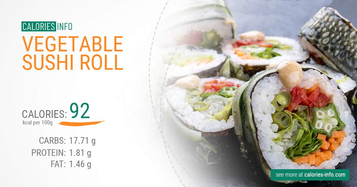 Vegetable sushi roll - caloies, wieght