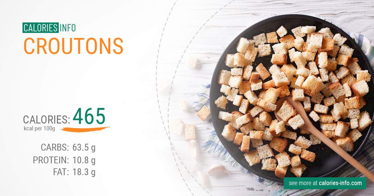 Croutons - caloies, wieght