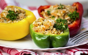 Stuffed pepper with rice and meat - calories, nutrition, weight