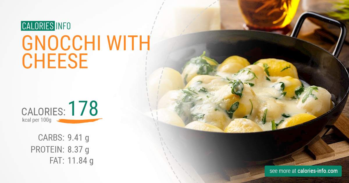 Gnocchi with cheese - caloies, wieght