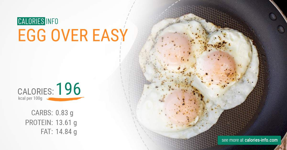 Egg over easy - caloies, wieght