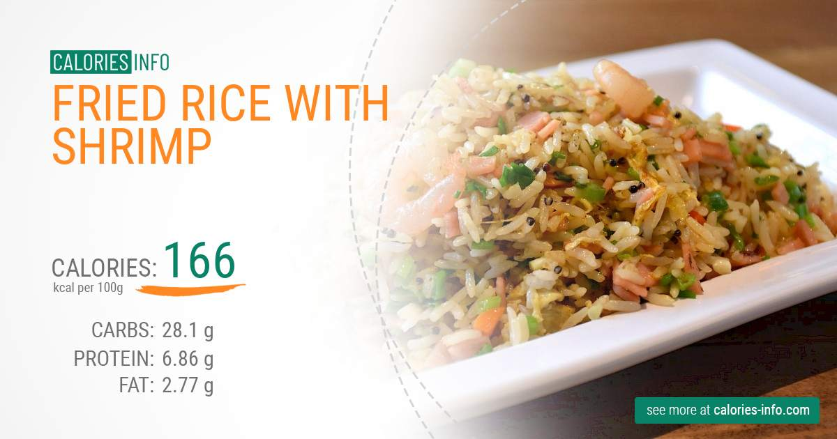 Fried rice with shrimp - caloies, wieght