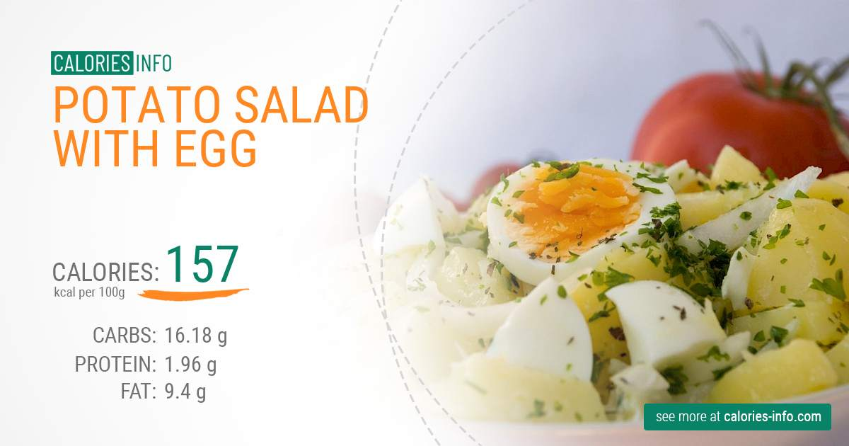 Potato salad with egg - caloies, wieght