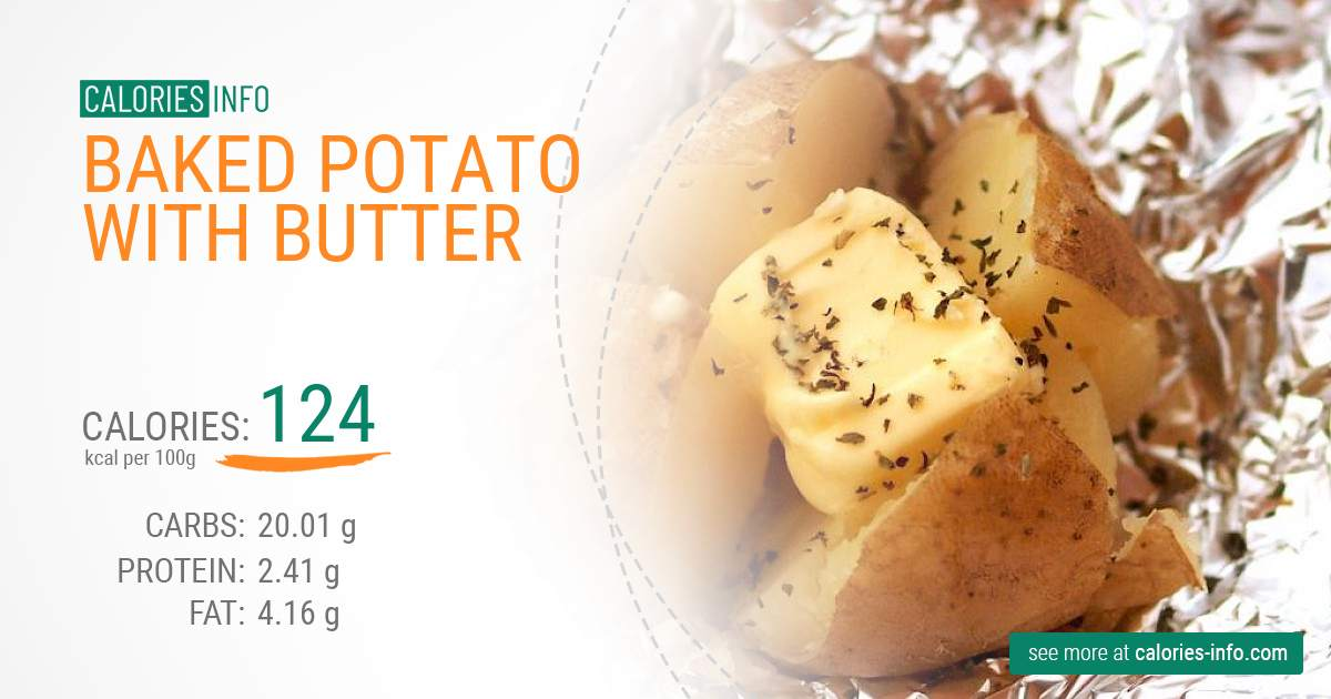 Baked potato with butter - caloies, wieght