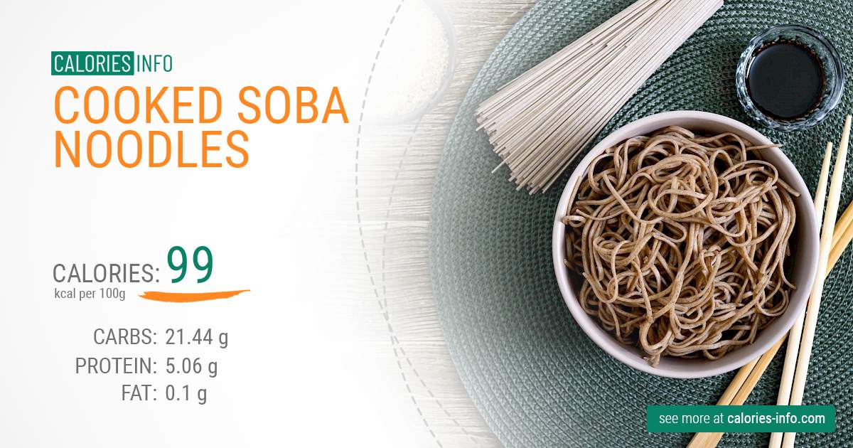 Cooked soba noodles - caloies, wieght