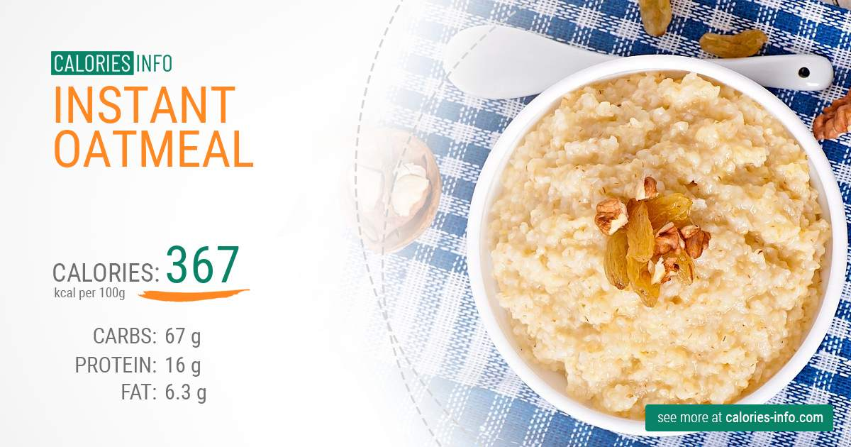 Instant oatmeal - caloies, wieght