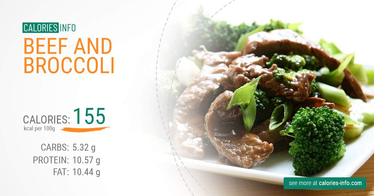 Beef and broccoli - caloies, wieght