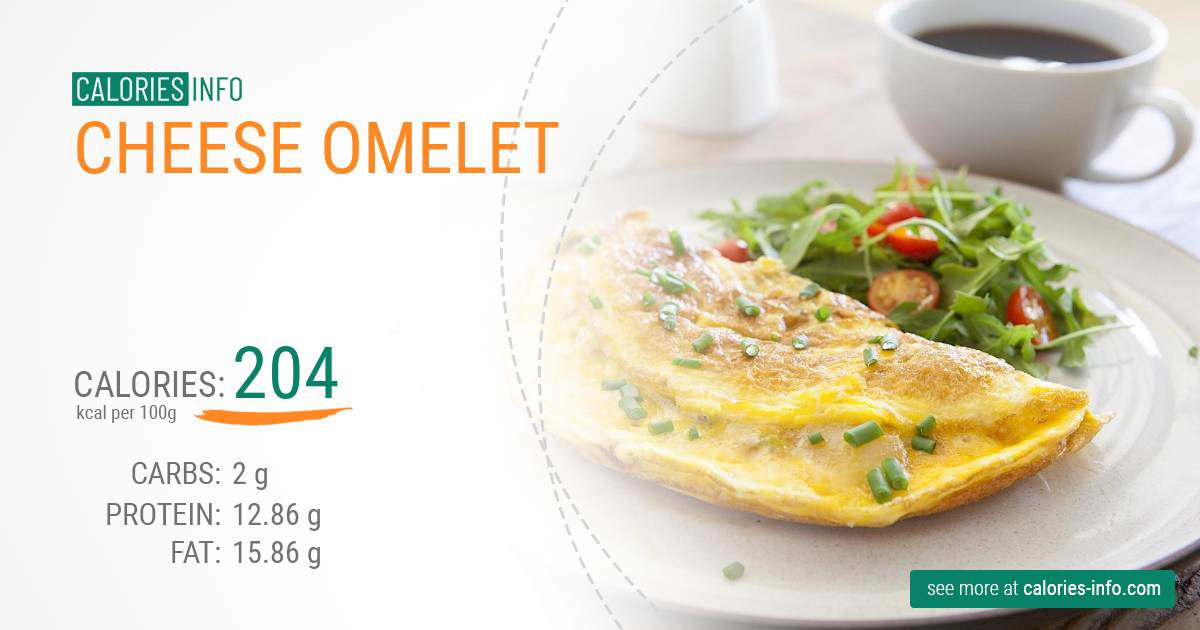 Cheese omelet - caloies, wieght