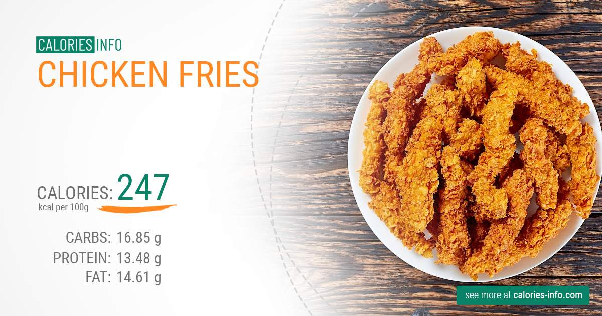 Chicken fries - caloies, wieght
