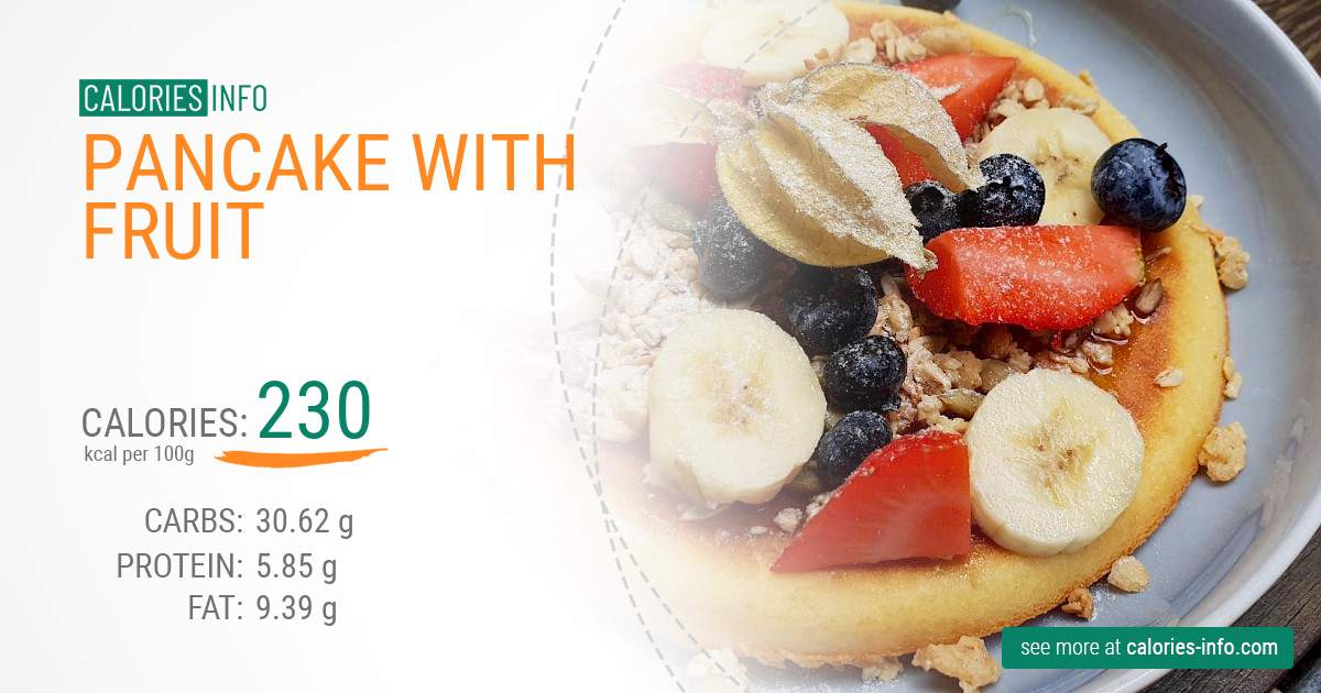 Pancake with fruit - caloies, wieght