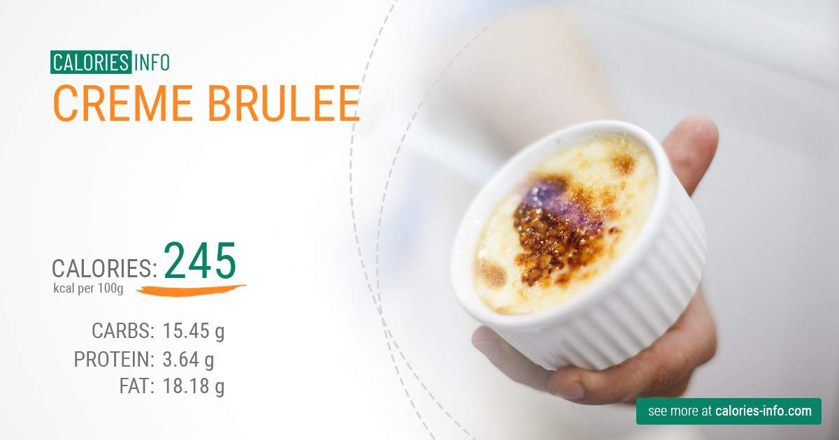 Creme Brulee - caloies, wieght