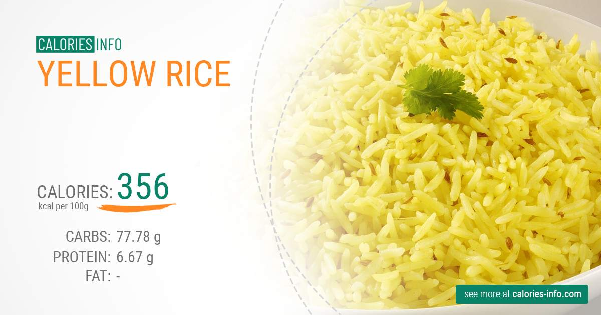 Yellow rice - caloies, wieght