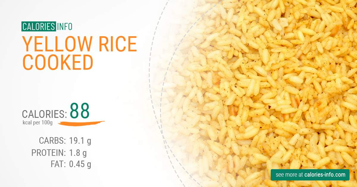 Yellow rice cooked - caloies, wieght
