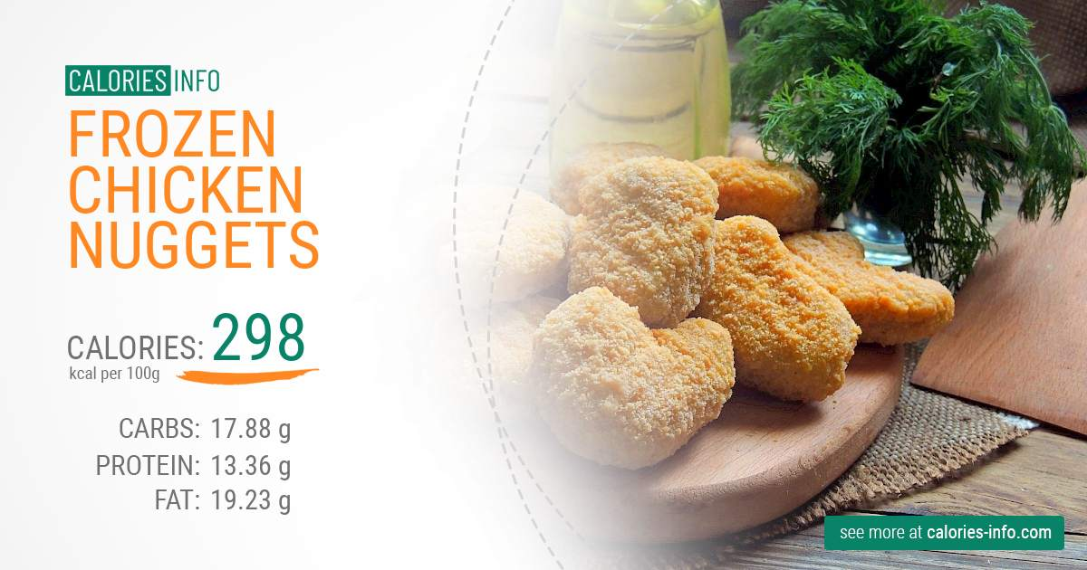 Frozen chicken nuggets - caloies, wieght