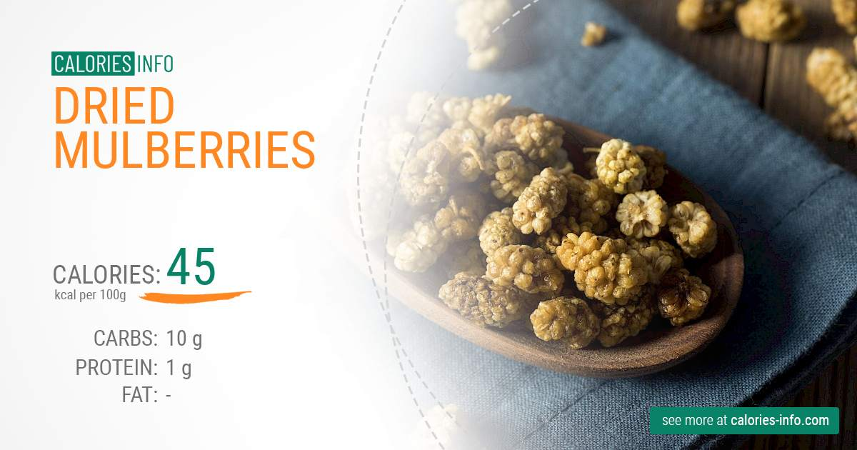 Dried mulberries - caloies, wieght