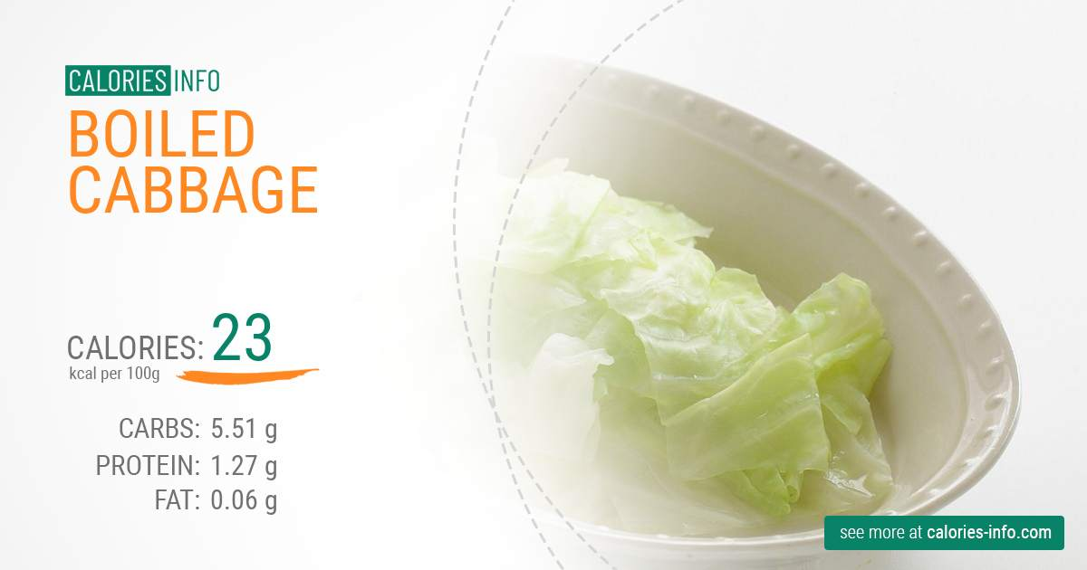Boiled cabbage - caloies, wieght