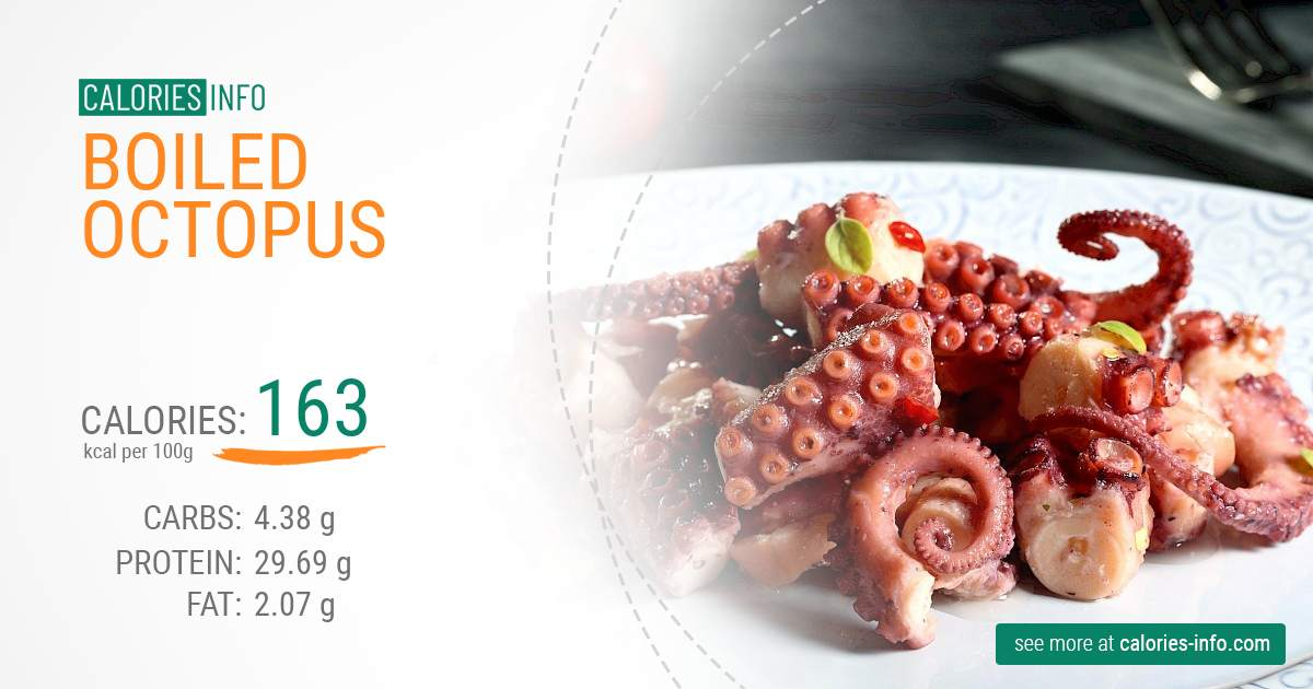 Boiled octopus - caloies, wieght