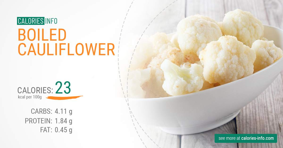 Boiled cauliflower - caloies, wieght