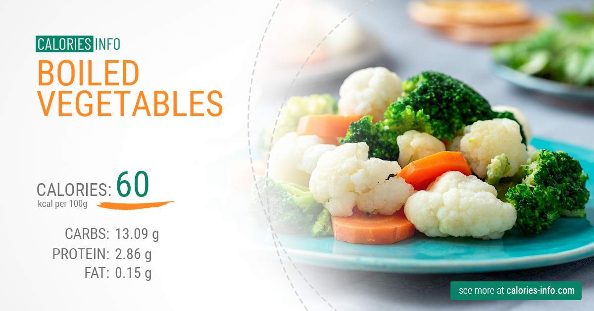 Boiled vegetables - caloies, wieght