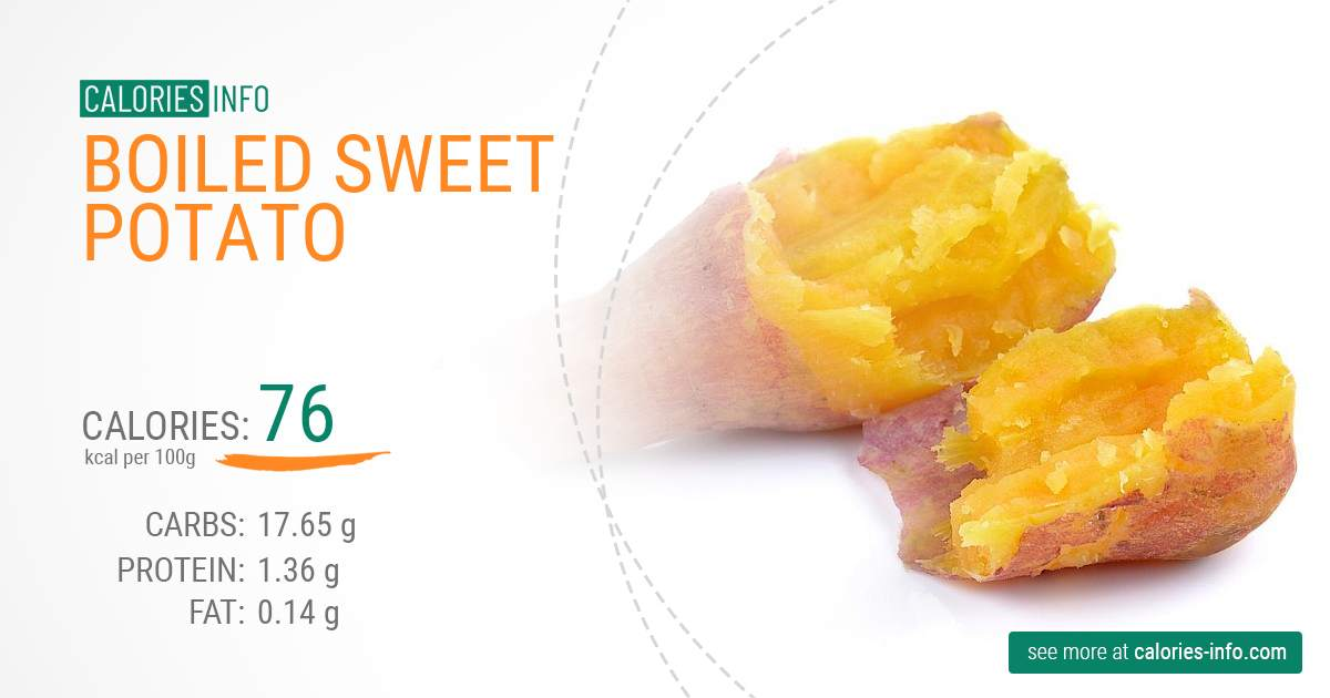 Boiled sweet potato - caloies, wieght
