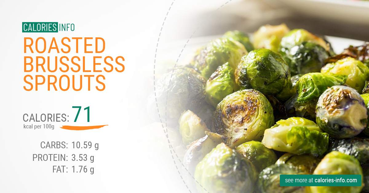 Roasted brussless sprouts - caloies, wieght