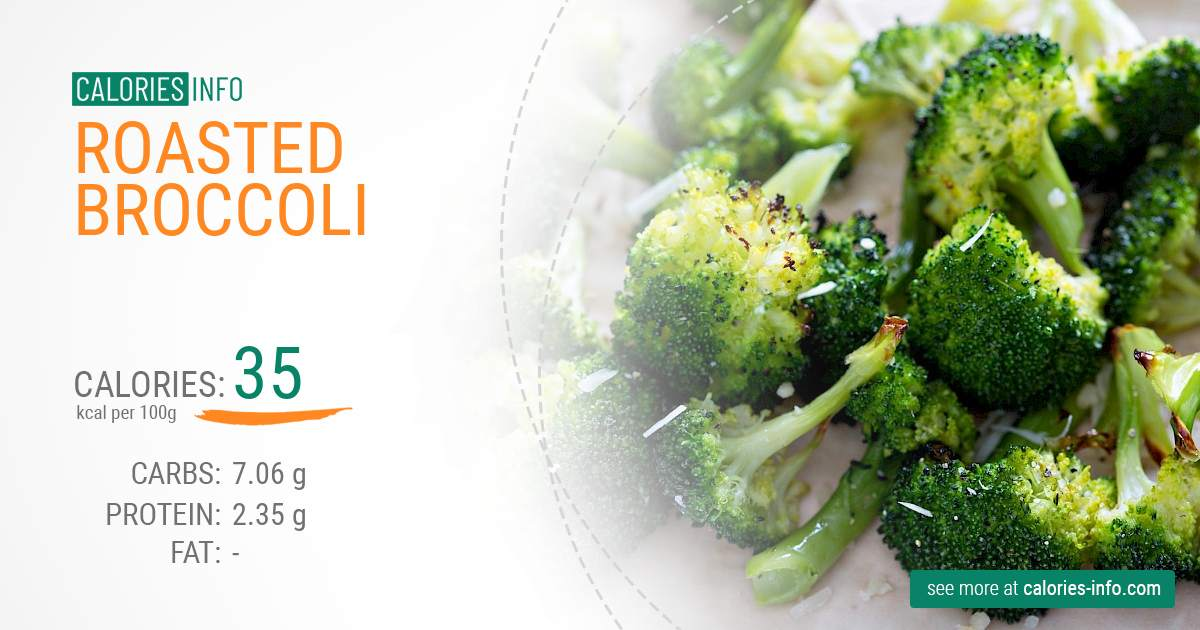 Roasted broccoli - caloies, wieght
