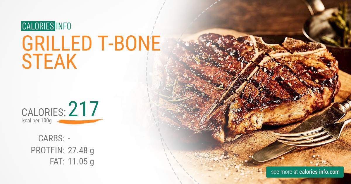 Grilled t-bone steak - caloies, wieght