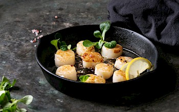 Fried scallops - calories, nutrition, weight