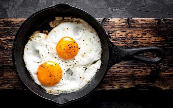 Fried egg white - calories, nutrition, weight