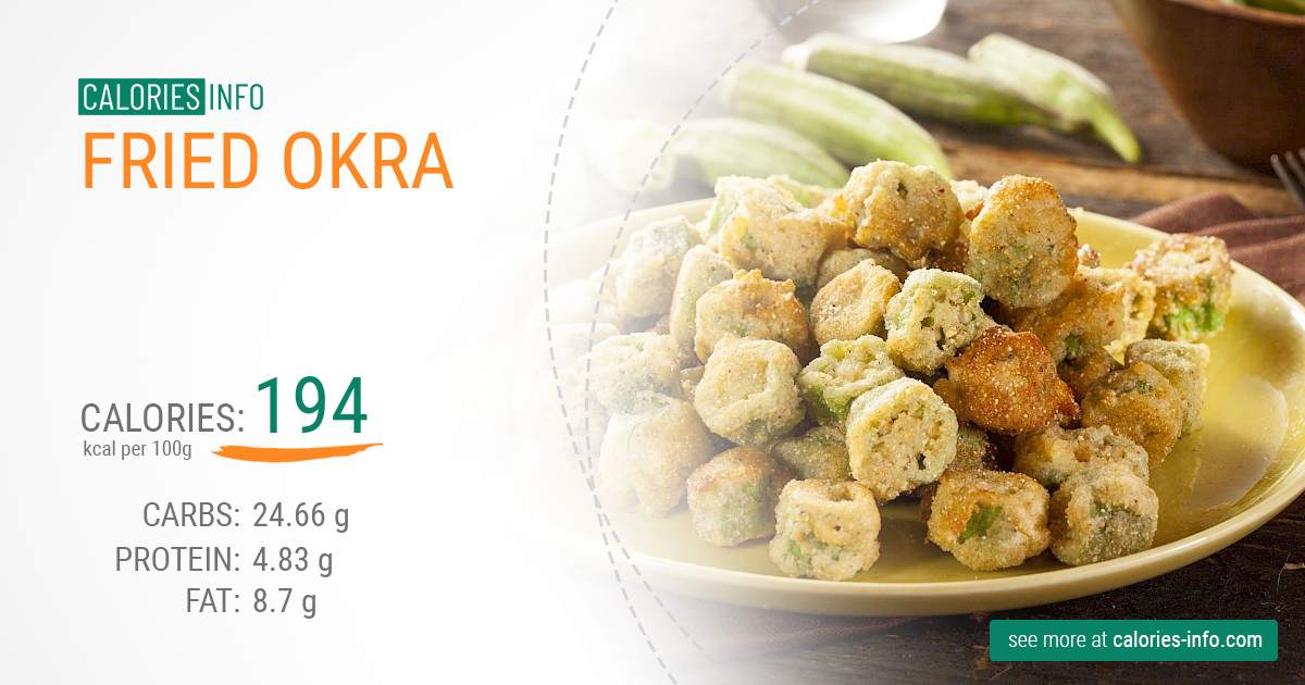 Fried okra - caloies, wieght
