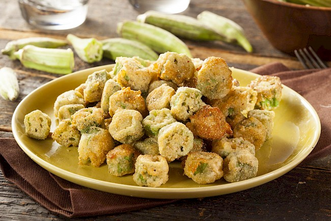 Fried okra - calories, kcal