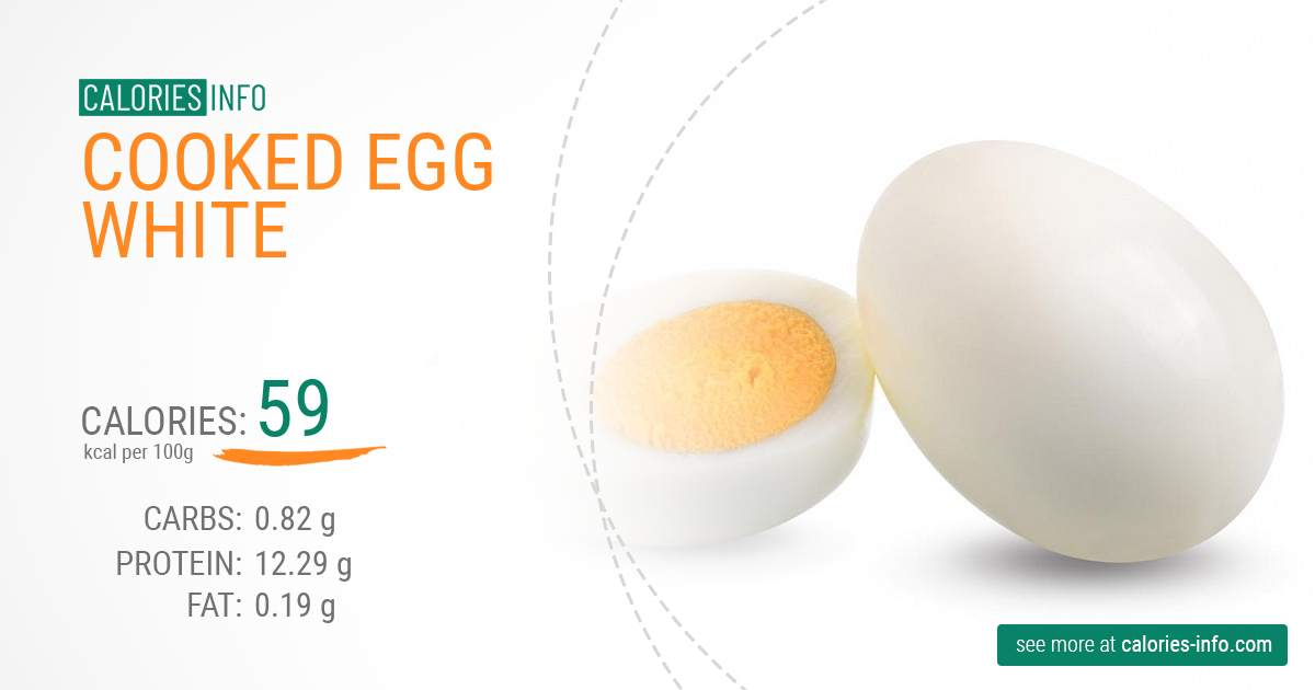 Cooked egg white - caloies, wieght
