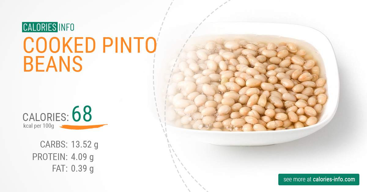 Cooked pinto beans - caloies, wieght