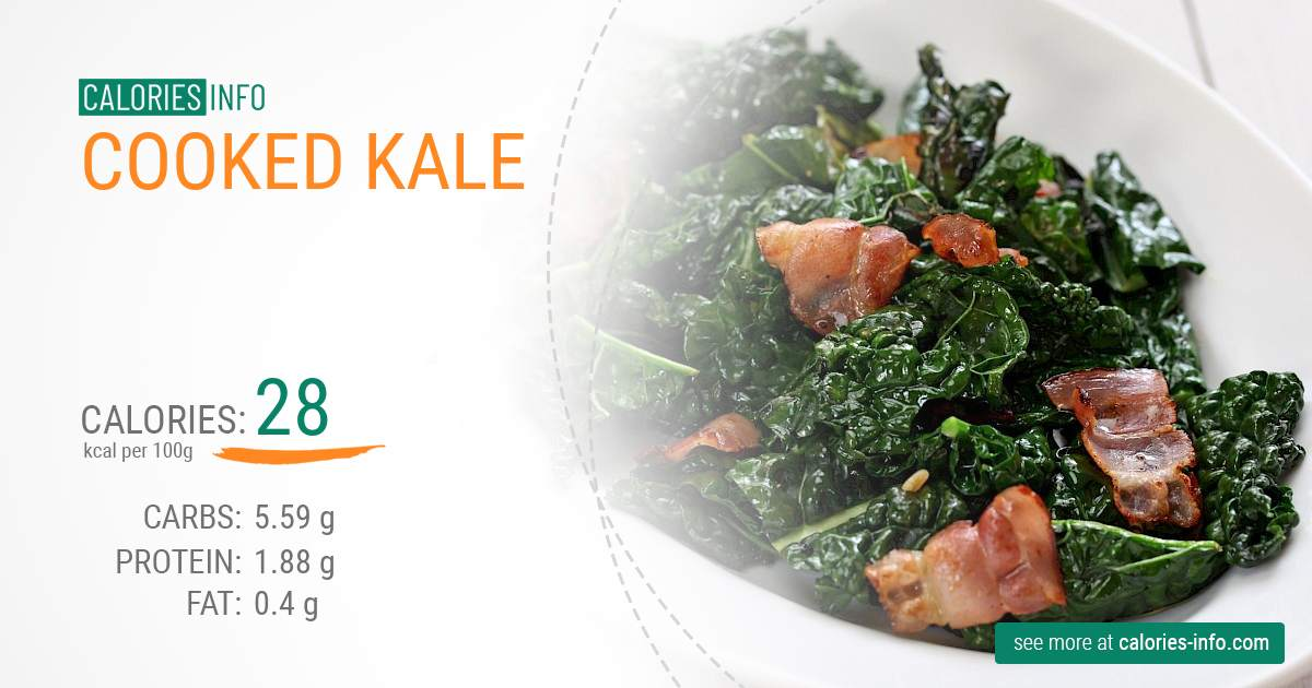 Cooked kale - caloies, wieght