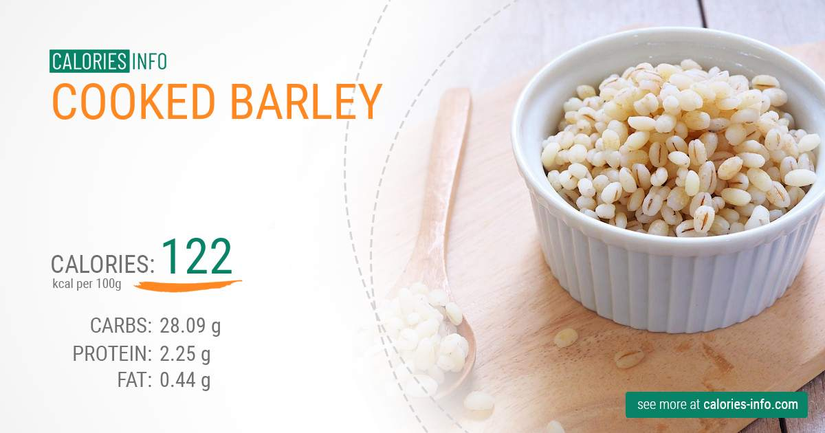 Cooked barley - caloies, wieght