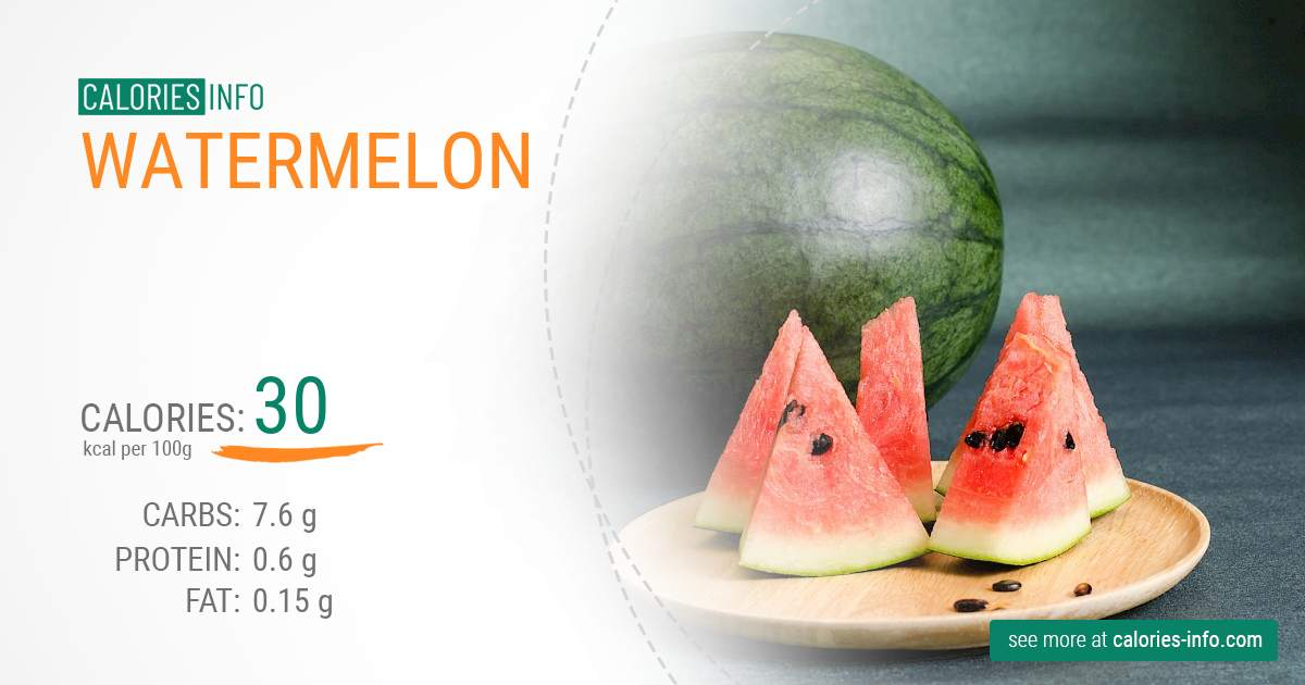 Watermelon - caloies, wieght