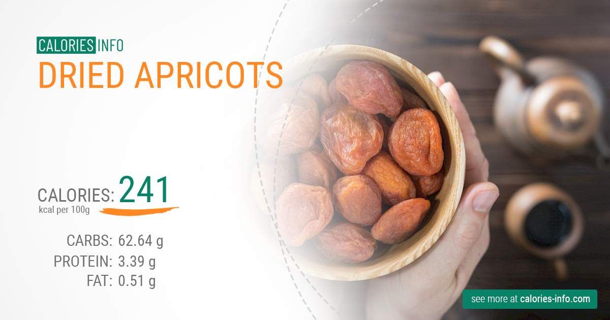 Dried apricots - caloies, wieght