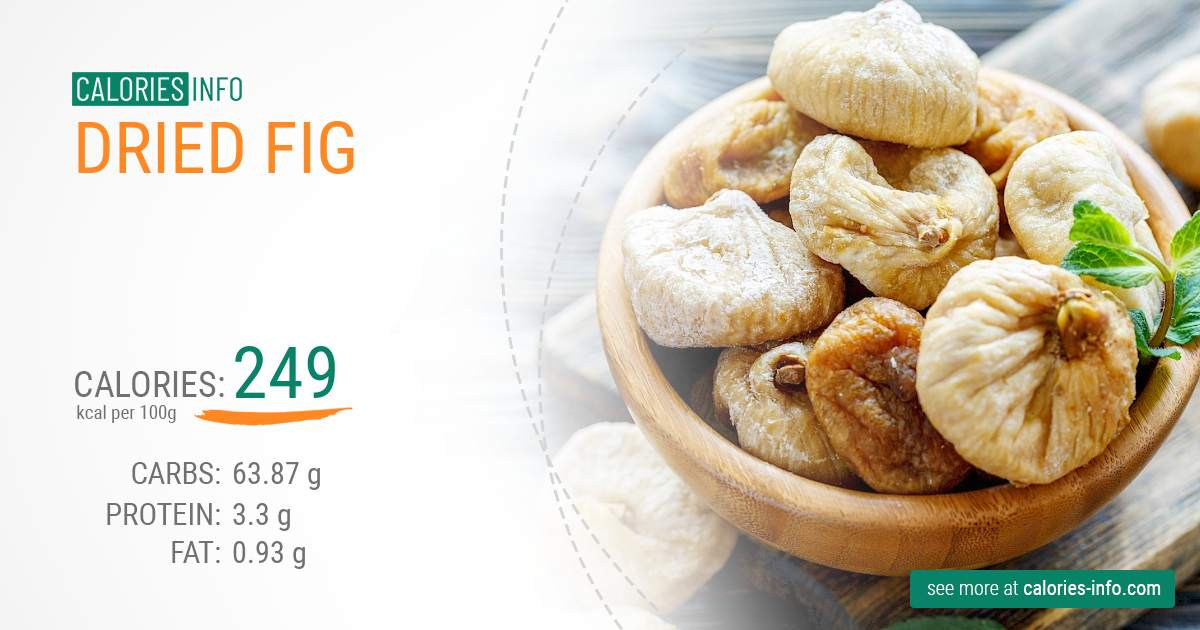 Dried fig - caloies, wieght