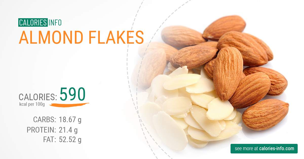 Almond flakes - caloies, wieght