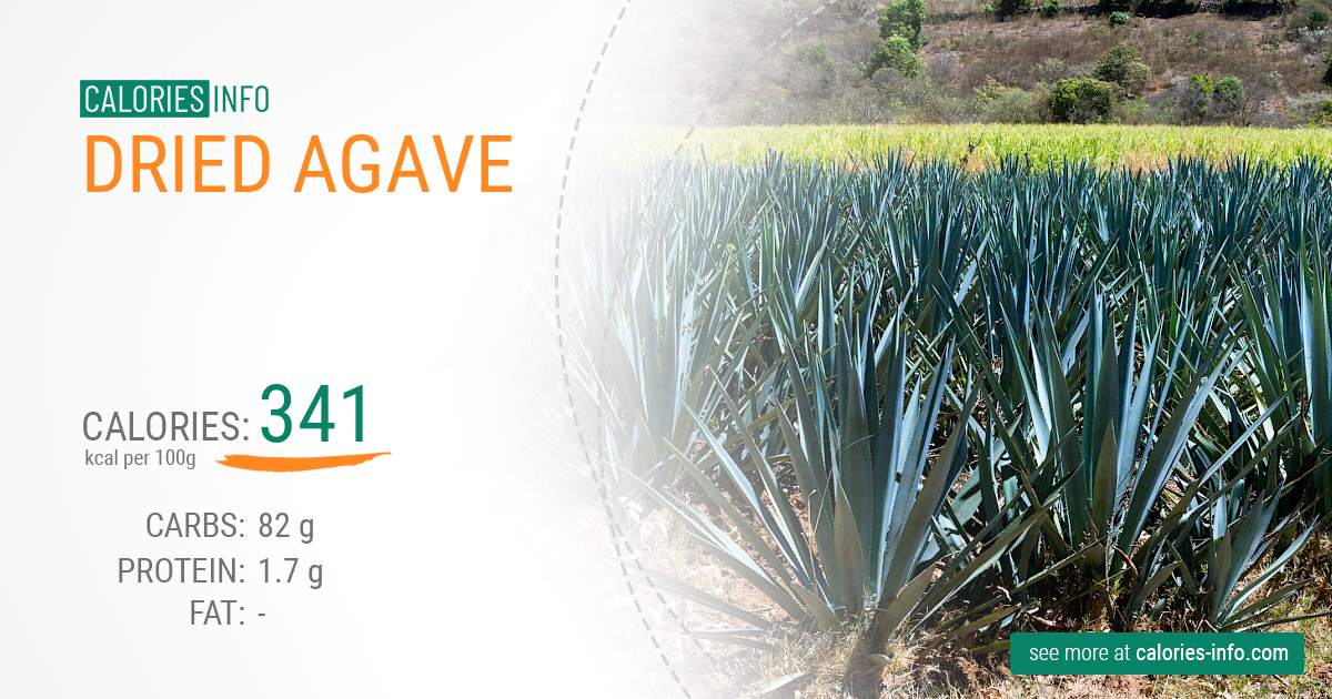Dried agave - caloies, wieght